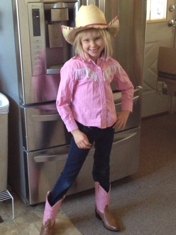 cowgirl Hanna in her new boots