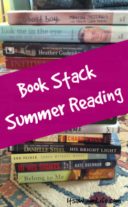 summer reading book stack