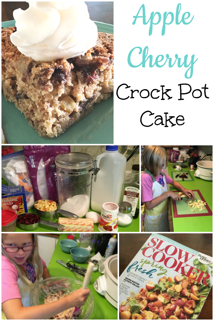 Apple Cherry Crockpot Cake ItsaWahmLife.com
